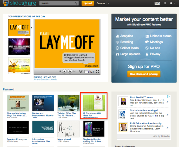 Screenshot of Slideshare Homepage