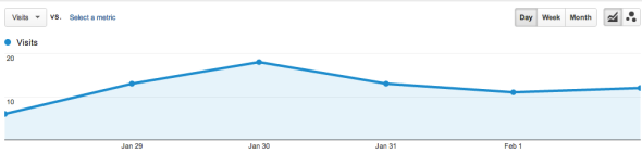 Google analytics chart with Google visits for Rockin' Photogs.